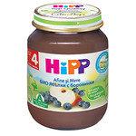 HIPP Био бебешко пюре ябълки и боровинки 4м+ 125 гр.